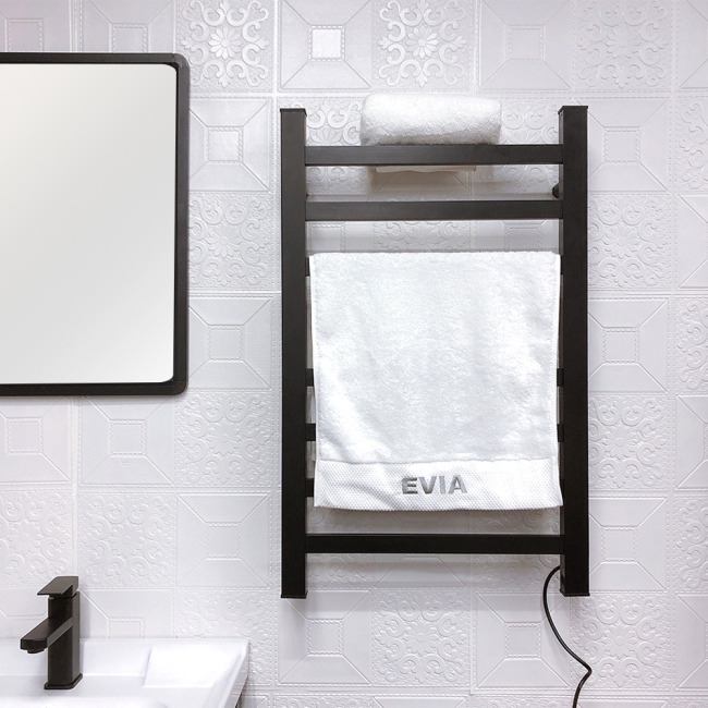 EV-130 Black Wall Mounted Electric Towel Warmer Heated Towel Rail For Bathroom