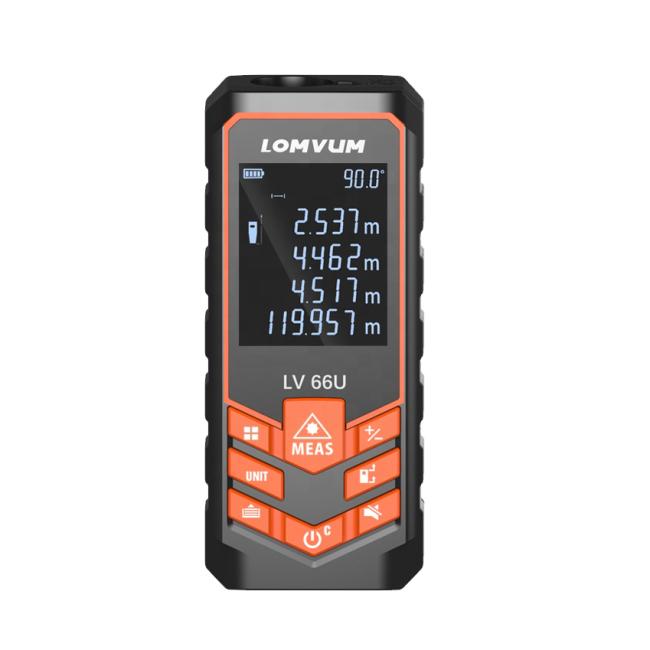 LOMVUM Battery-powered Auto Level Laser Rangefinder Multifunction Distance Meter