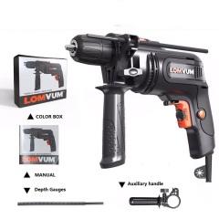 LOMVUM handle high quality professional portable reversible high speed 550W 10mm hammer impact drill machine