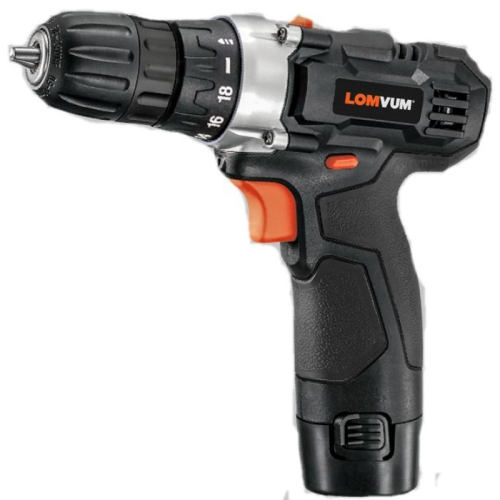 LOMVUM 12V Lithium rechargeable electric cordless drill in black color