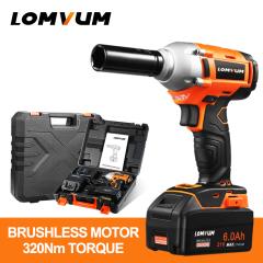 LOMVUM 320 NM Brushless Motor Electric Cordless Impact Wrench With LED Light