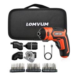 LOMVUM 4V USB Rechargeable Screw Driver 2.0Ah Li-Ion battery 4Nm Max. Torque Multi Function Mini Cordless Screwdriver Set