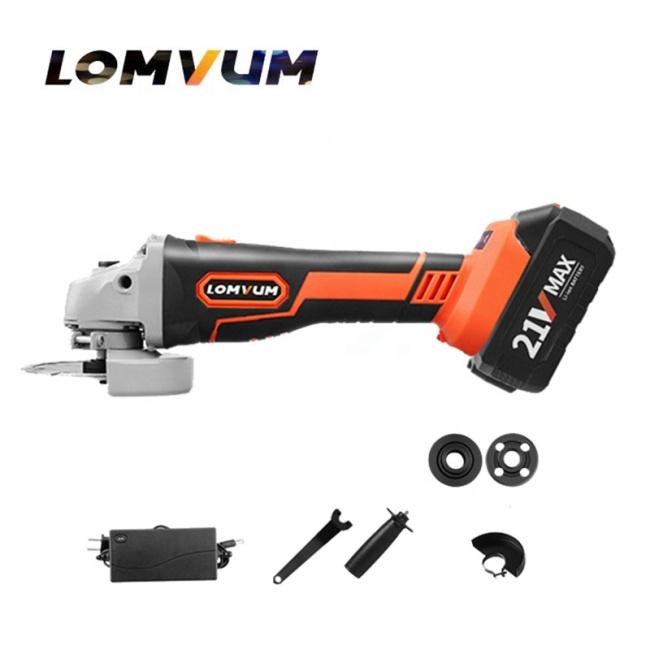 LOMVUM Brushless Motor 21 V Lithium Battery 100 mm Power Grinding Cutting Polishing Electric Angle  Grinder