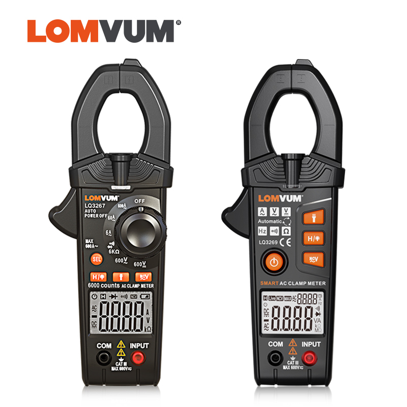 LOMVUM Digital AC DC Voltage Multimeters NCV Non Contact Power Clamp Meter