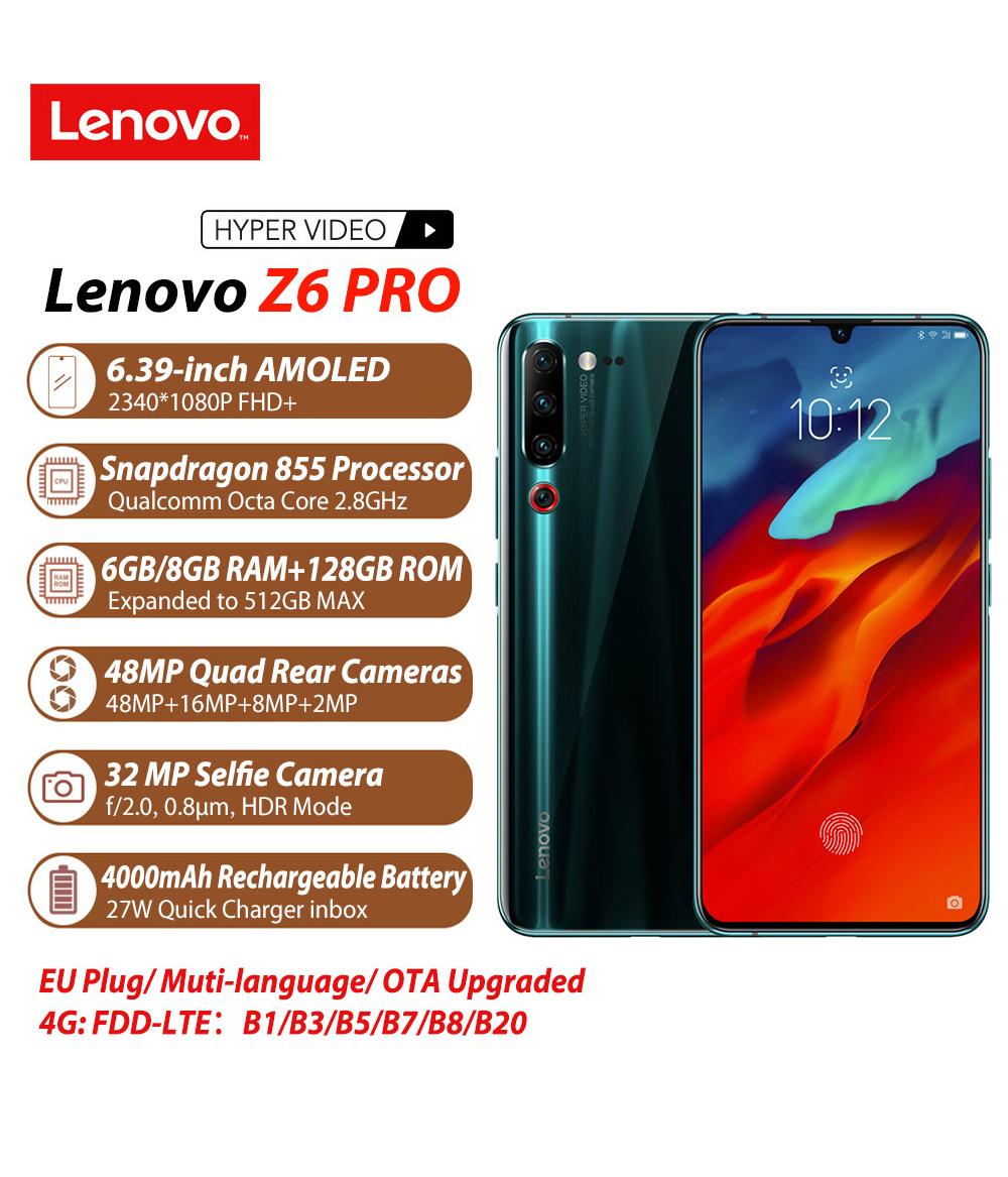 Lenovo Z6 Pro Black 8GB 128GB Snapdragon 855 Octa Core Mobile Phone 2340 * 1080 OLED Screen 48MP AI 4 Camera Smartphone