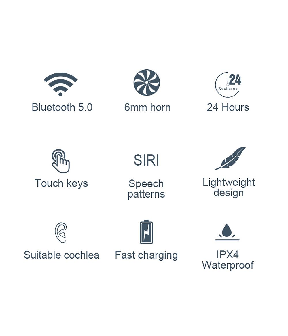 Lenovo X18 TWS Earphone Wireless Bluetooth 5.0 Touch Wireless Bluetooth Earphone with Charging Box, Support Call & Siri (White)