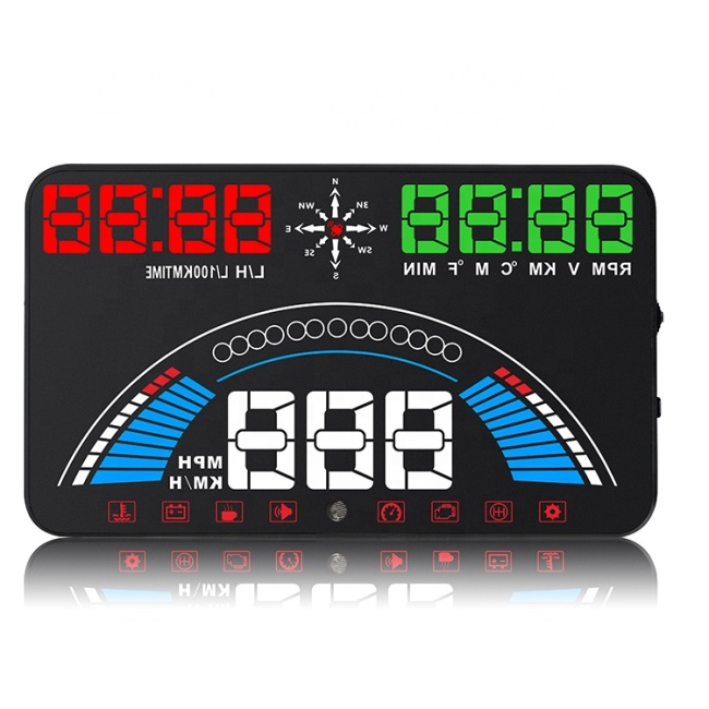Car HUD OBD II OBD2 Head Up Display Projector Overspeed Voltage Alarm Water Temperature Rotating Speed Multifunction Display