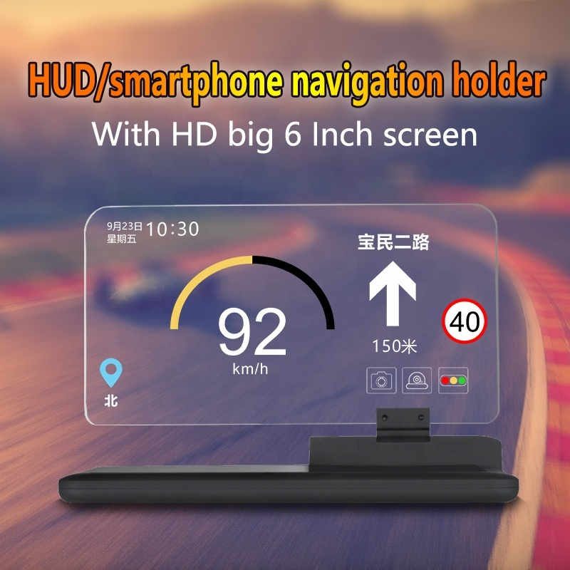 Latest Smartphone Head Up Display Dashboard Projector Wireless Auto Bracket Hud Mobile Navigation with Phone holder