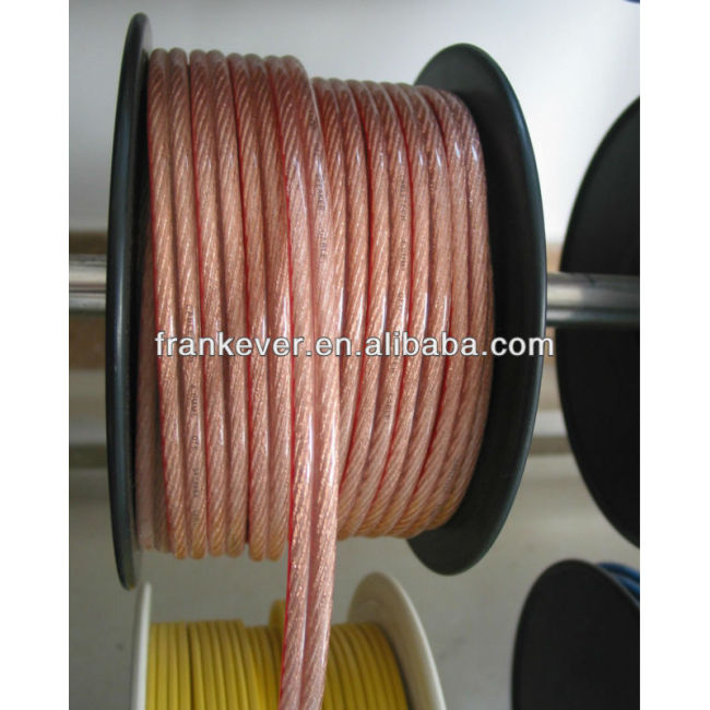 12 AWG High quality transparent pvc woofer cable copper conductor