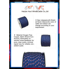 New release Audio cable Speaker Cable with sleeve for power amplifier, VCD, DVD, VCR,car