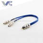 R Male to 2R Female RCA Cable OD3.8mm Blue Wires with Spring Protect