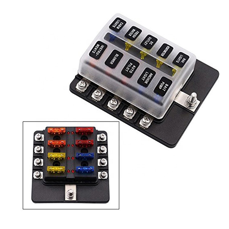 10 Way Automotive Waterproof Marine Fuse Block with LED Indicator Protection Cover