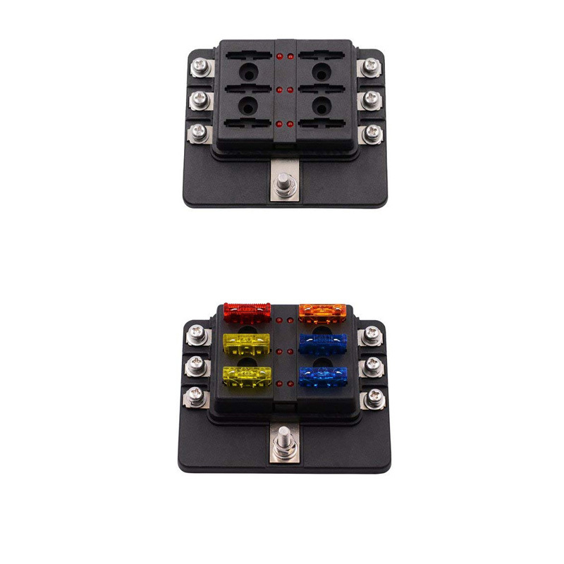 6-Way Protection Cover Automotive Blade Fuse Box with LED Indicator