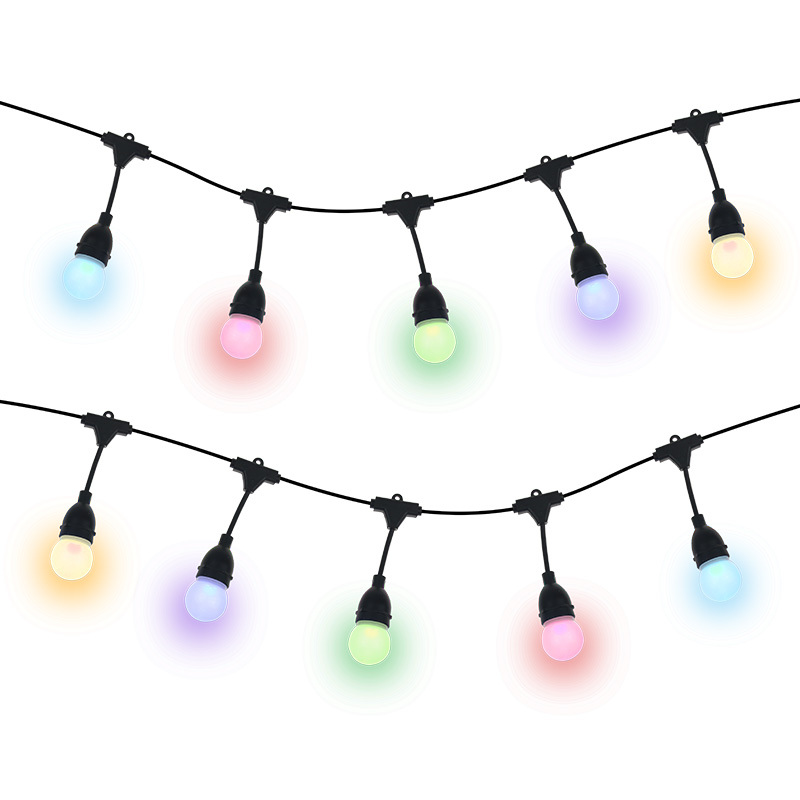 APP Voice control smart wifi remote outdoor use IP65 RGB string light for Patio, Porches, Bistro, Backyard,Christmas decoration