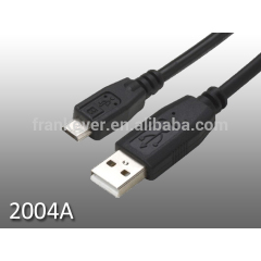 USB 2.0 Micro-usb B Male to USB A Male Cable, black molding, Nickel plated connectors