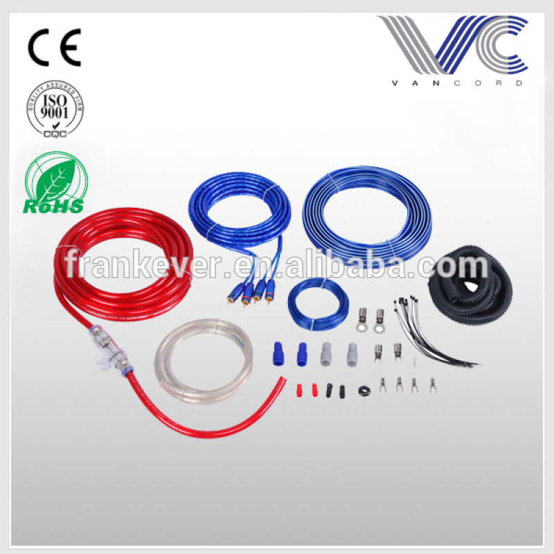 high quality frosted and transparent Car Amplifier installation Wiring Kit with nylon sleeve,audio amplifier kit