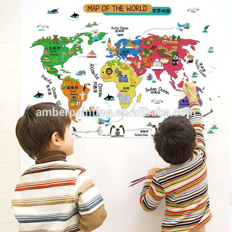 artistic new design wall map world decals PVC adhesive sticker