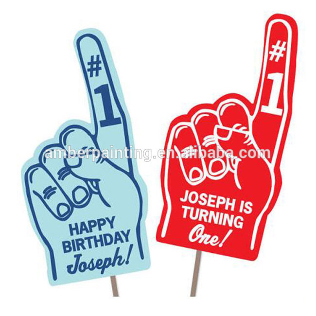 Printable diy custom giant foam finger hand toy for 1st Birthday Party