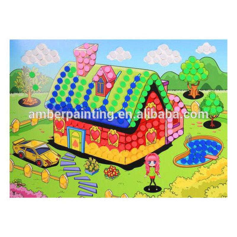 Custom design cute sticky glitter foam mosaic craft kits