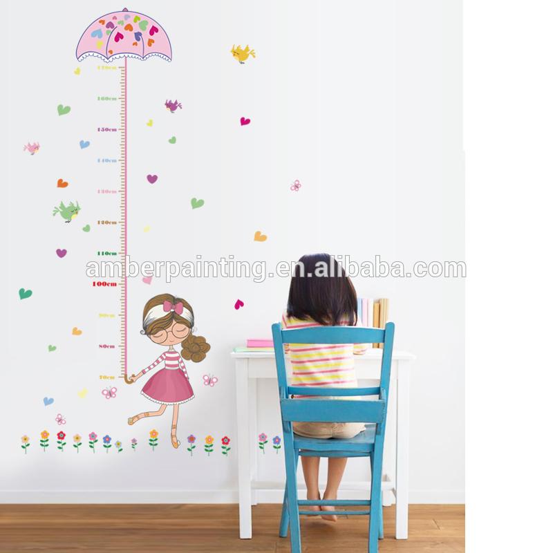 Height sticker little girls with pick umbrella mint vinyl wall decals