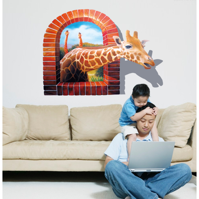 3d wall murals sticker of giraffe