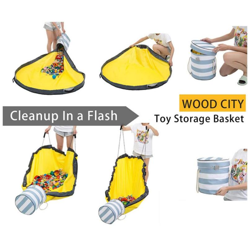 large play mat and children toys organizer baskets portable kids toy storage bag and play mat