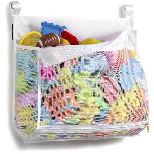 Bath Toy Organizer Multiple Usage Extra Large Opening Bathroom Toy Holder Bottom Zipper Bathtub Toy Storage Bag For Kids