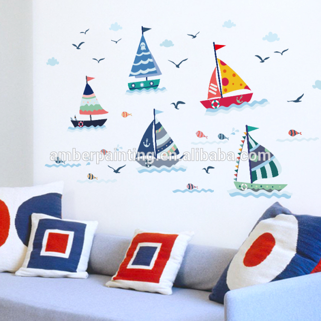 big bedroom wall decals sail boats environmental protection PVC sticker