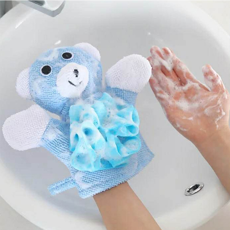Comfortable skin cartoon dual use sponge baby bath glove