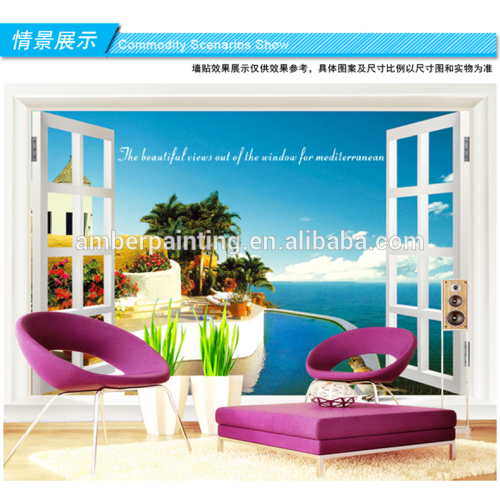 Family kitchen wall creative window view wall sticker relaxing wall stickers