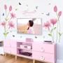 bathroom flower light pink walls decals wallpaper