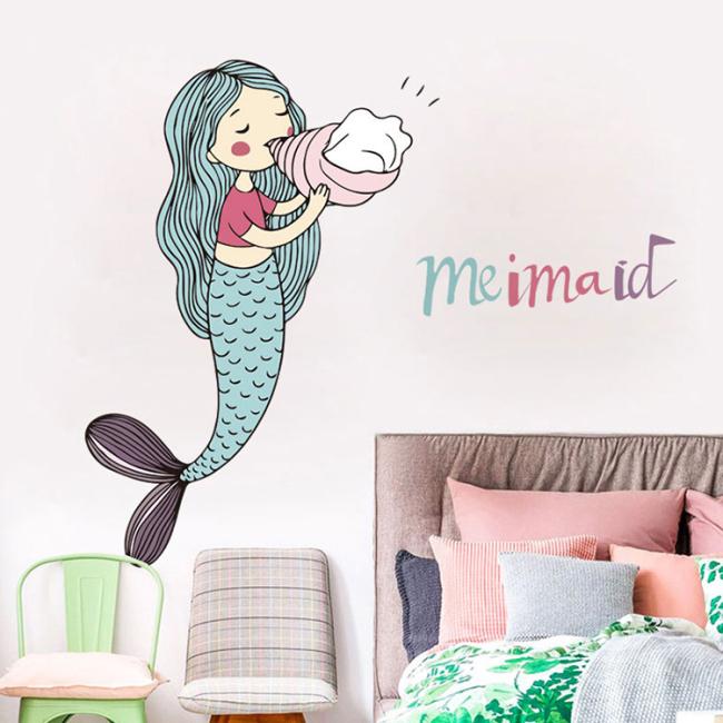 Amazon hot sale mermaid girls wall sticker for kids bedroom