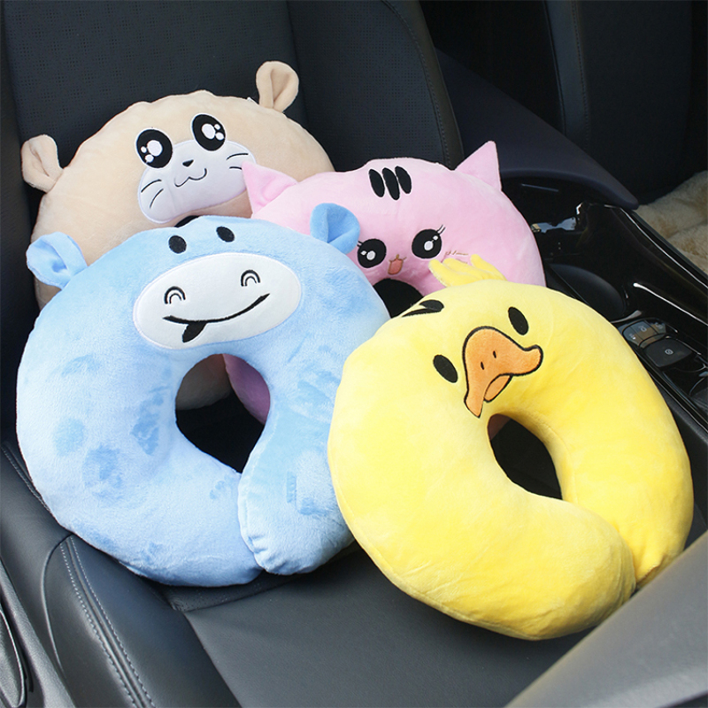 cartoon pattern designs baby head support and u shape travel pillow for car seat
