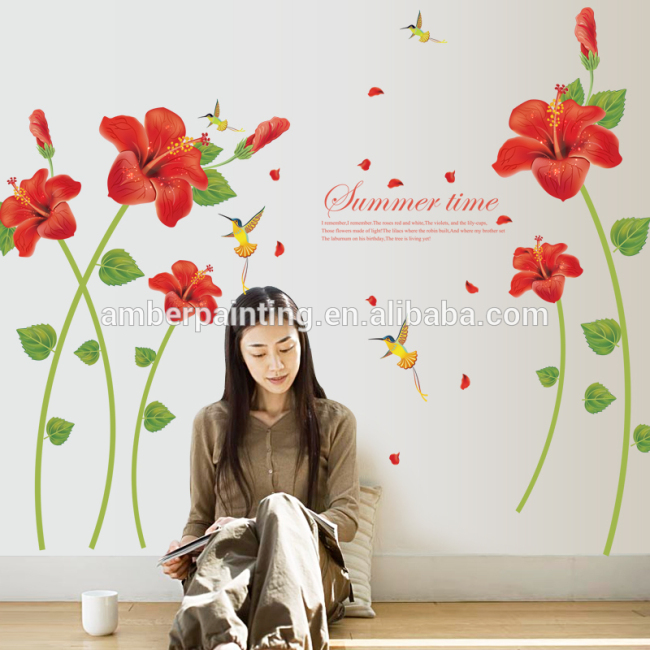 3d red flower wall decals birds balcony window sticker