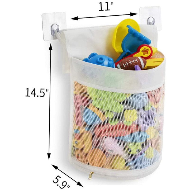Clever Zippered Mesh Bath Toy Organizer Storage Bag Multiple Ways to Hang Extra Large Opening Bathroom Toy Holder