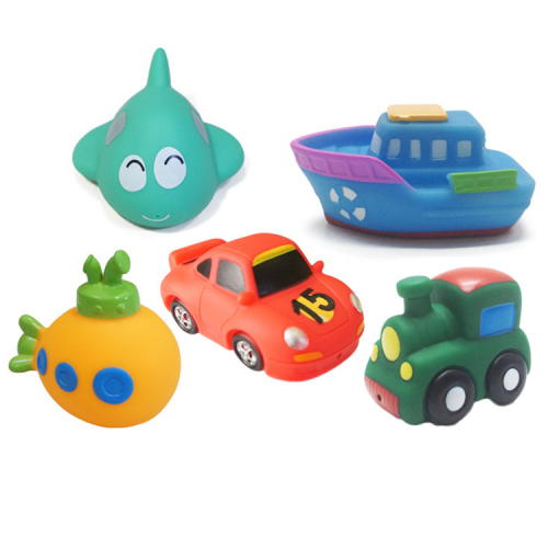 baby vinyl squirt bath toys set of 5pcs pack with mesh bag