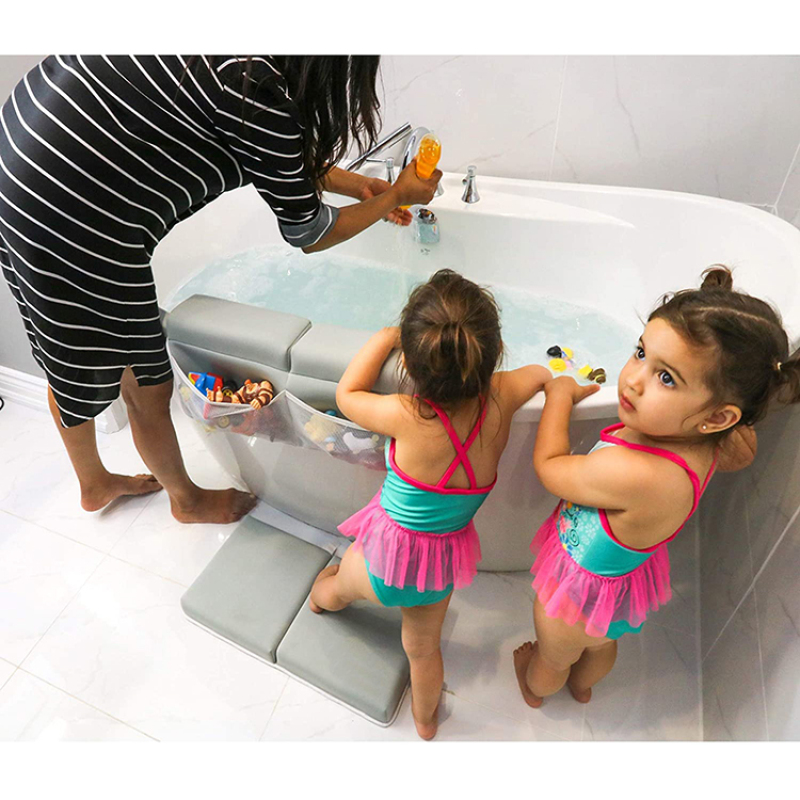 Extra thick 2.0 inch baby bath kneeler with elbow rest pad set strong suction cups and anti slip material on the back