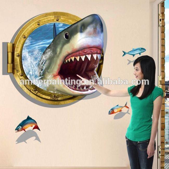 2016 New shark mural view 3d effect wall sticker for kids room decor