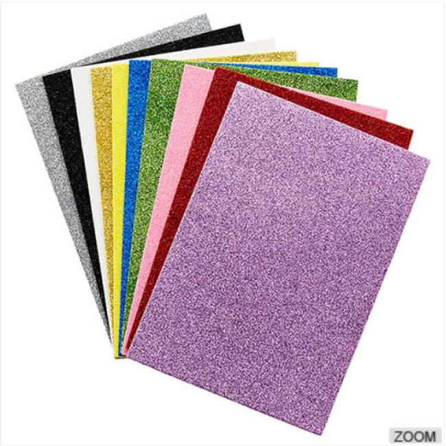 Eco friendly solid color adhesive glitter eva foam sheet