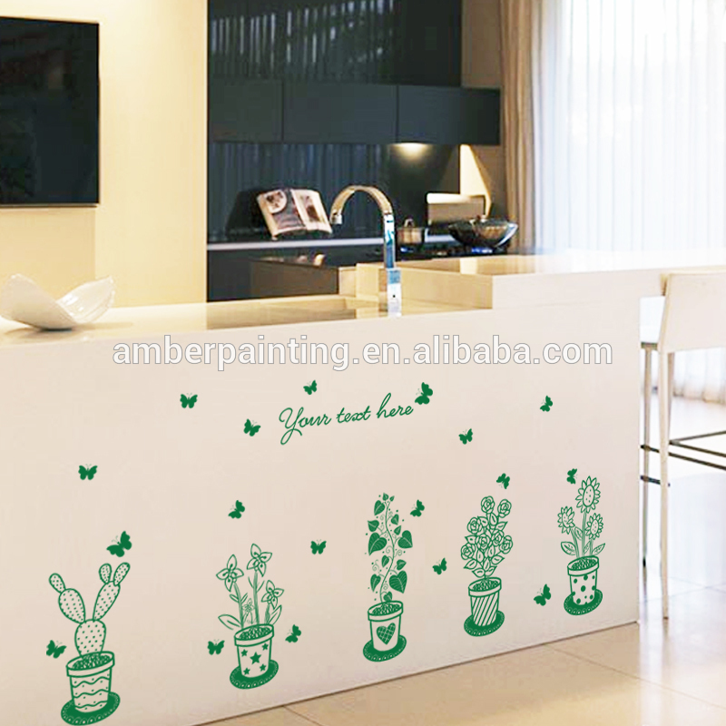 DIY home family cactus green leaves library wall decals sticker