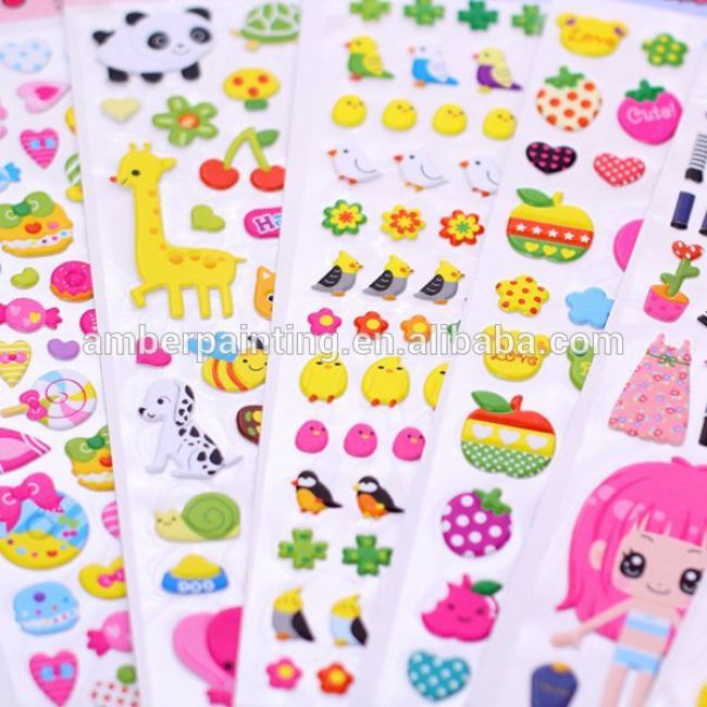 Self adhesive custom design kids cute cartoon puffy sticker