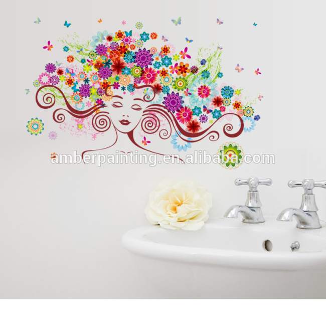 factory price new technology lady face hair salon wall decals