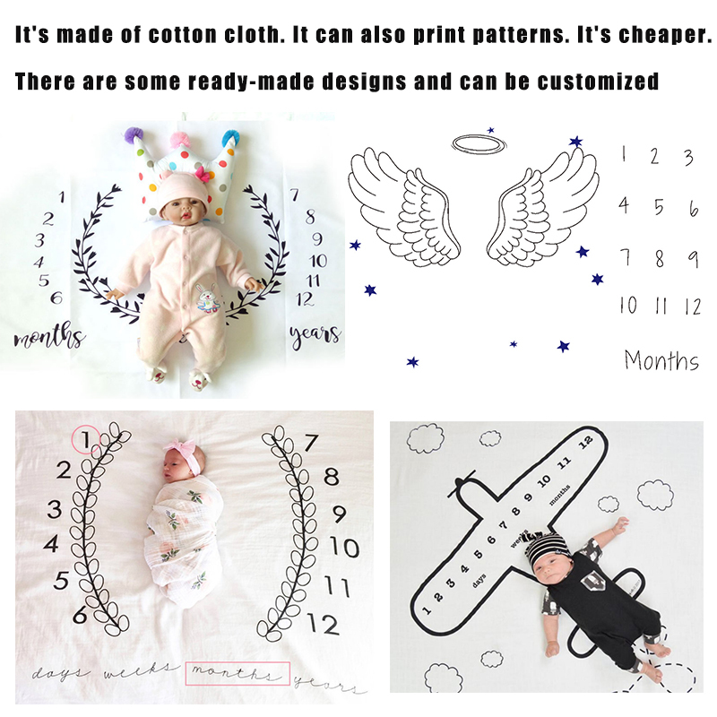 Monthly milestone organic blanket for baby girl and boy month take photo cute background