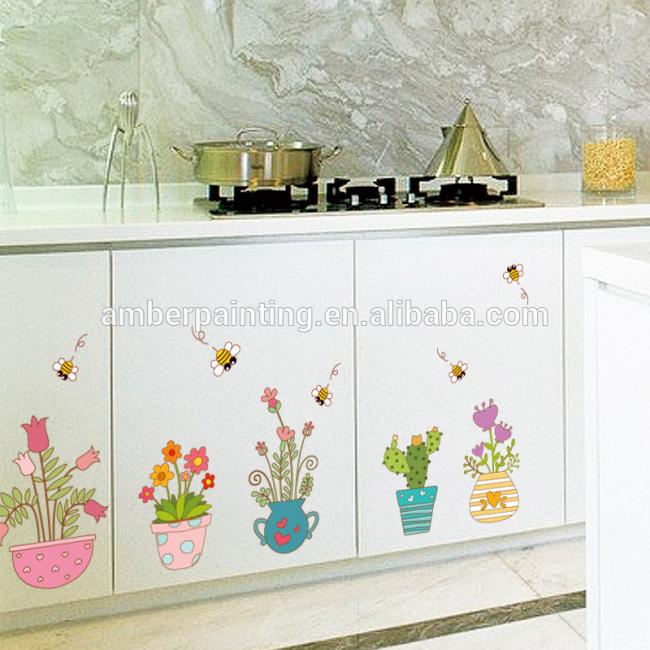 plant wall decals cactus DIY art decoration for bar decor