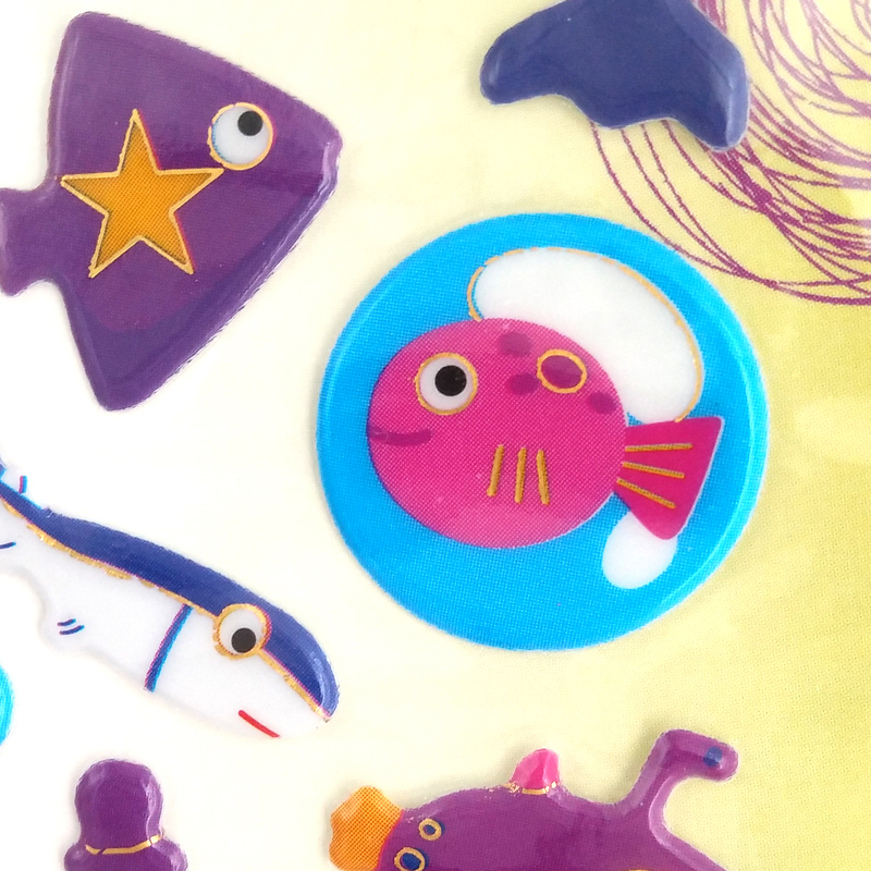Industrial large puffy sealife animal stickers for toddlers diy