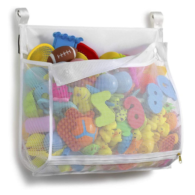 Mesh Bath Toy Organizer Multiple Ways to Hang Ultra Large Capacity & Large Opening Bathtub Baby Toy Storage Bag