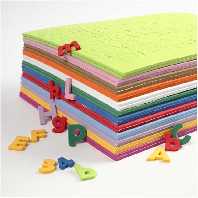 Colorful eva craft adhesive letters numbers eva foam sheet