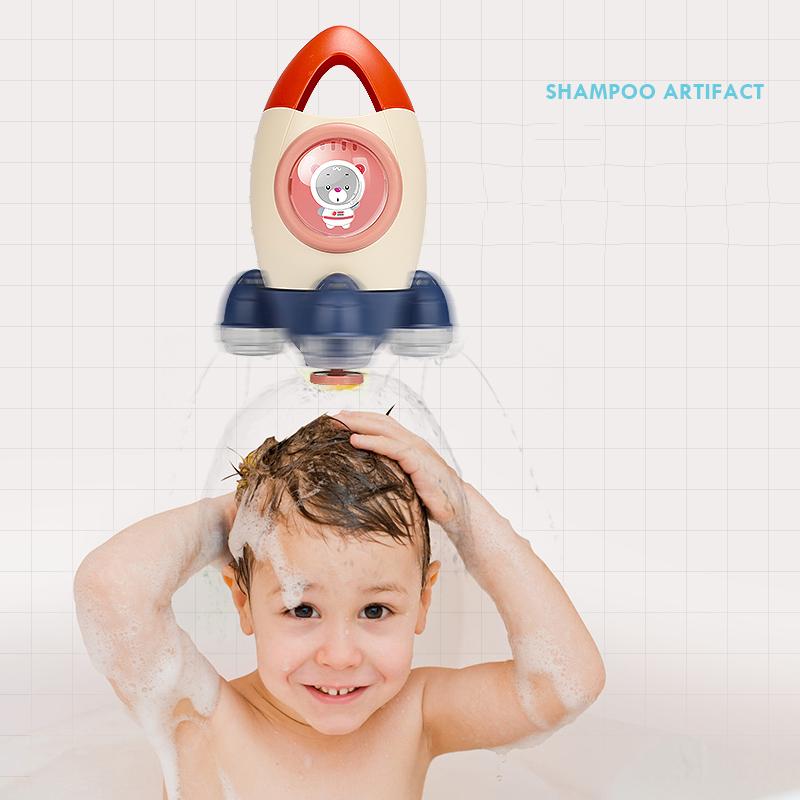 Wholesale bath tub toy boat spray shower bath toy kids  rocketship bath toy