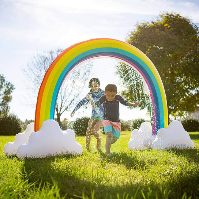 rainbow sprinkler inflatable water splash and play mat