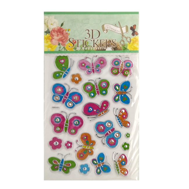 various butterflies cartoon puffy sticker design manufacturer for kids